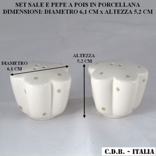 SET SALE E PEPE IN PORCELLANA CON POIS