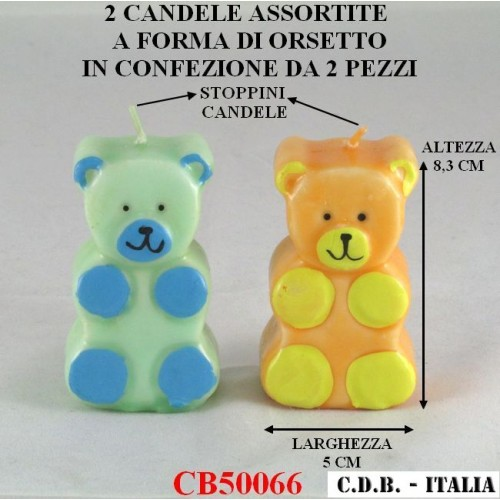 CANDELE A FORMA DI ORSETTO ASSORTITE IN 2 COLORI