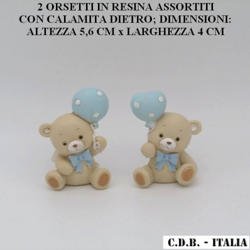 ORSETI IN RESINA PER NASCITA O BATTESIMO BIMBO, ASSORTITI IN 2 MODELLI